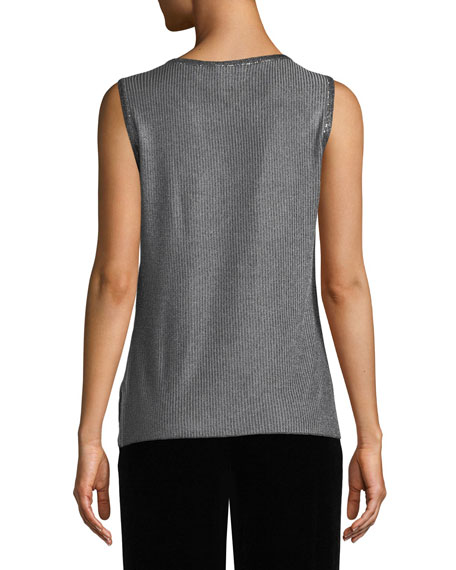 Metallic Plaited Knit Shell Top with Sequins