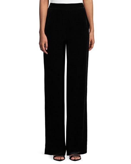 Velvet Straight-Leg Pants