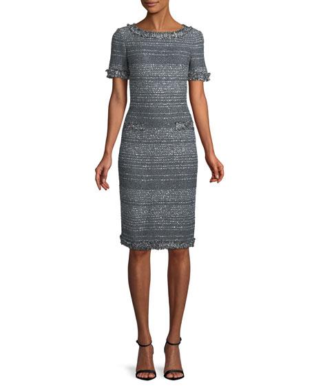 Heathered Glimmer Knit Cocktail Sheath Dress