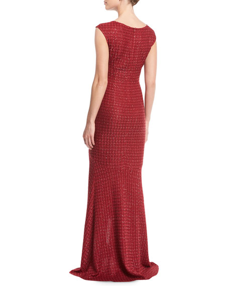 Sprinkled Sequin Lattice Knit Gown