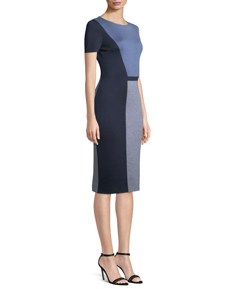 Geometric Colorblock Milano Sheath Dress