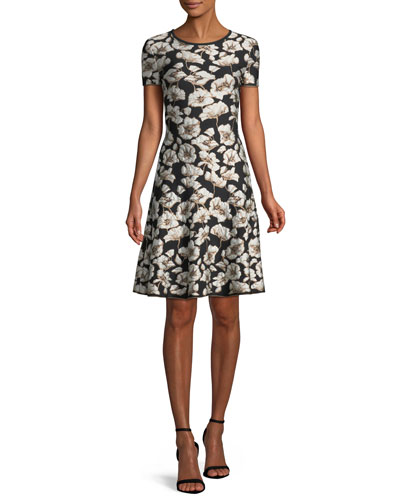 Short-Sleeve Floral Jacquard Fit-and-Flare Dress