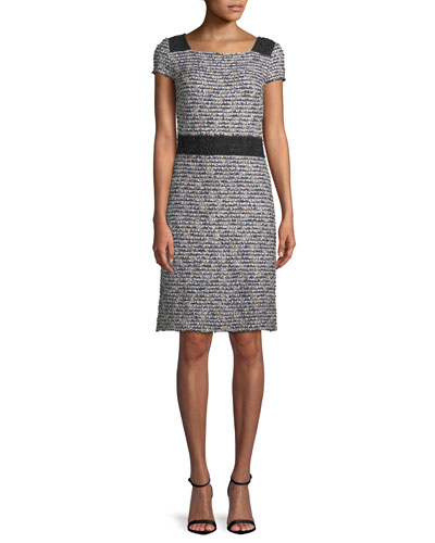 Inlaid Knit Cap-Sleeve A-line Dress