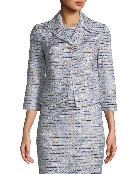 3/4-Sleeve Inlaid Copper Tweed Jacket