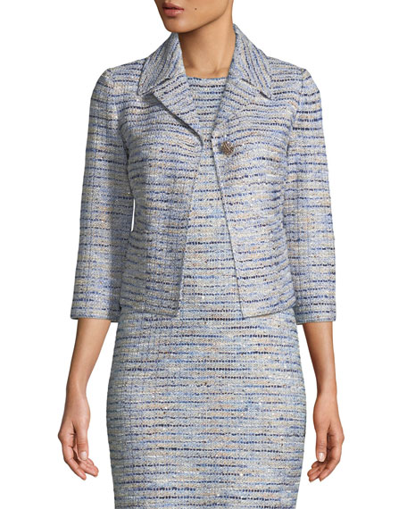 St. John Collection 3/4-Sleeve Inlaid Copper Tweed Jacket