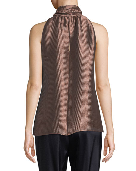 Neck-Tie Herringbone Metallic Sleeveless Top