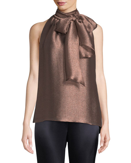 St. John Collection Neck-Tie Herringbone Metallic Sleeveless Top