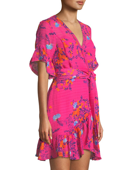 Brandy Garden-Print Silk Wrap Mini Dress