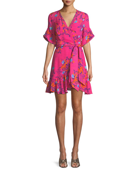 Tanya Taylor Brandy Garden-Print Silk Wrap Mini Dress