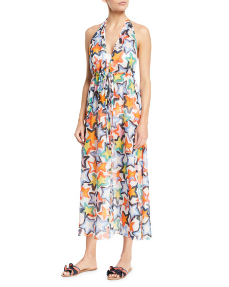 Milly Katrina Printed Halter Maxi Coverup Dress