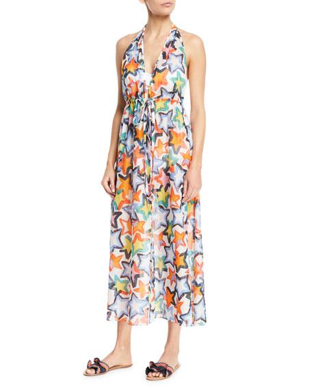 Milly Katrina Printed Halter Maxi Coverup Dress