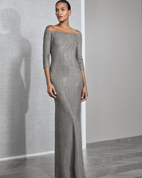 Off-the-Shoulder Plaited Stardust Rib-Knit Gown