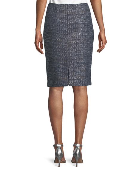 Copper Sequin Tweed Knit Skirt
