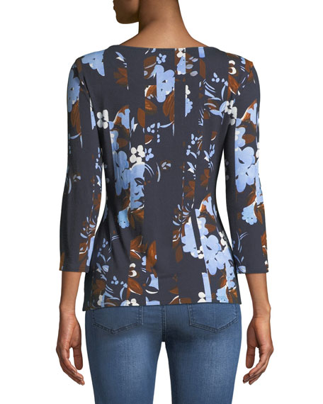 3/4-Sleeve Painted Floral Jersey T-Shirt