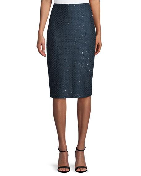 Shimmer Sequin Knit Pencil Skirt