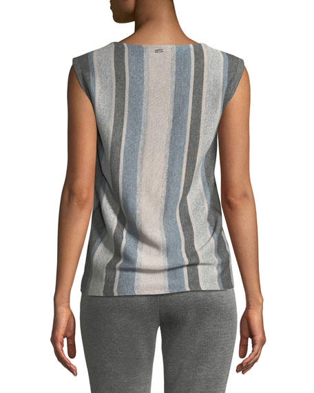 Sleeveless Shimmer Striped Shell