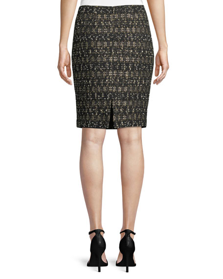 Gilded Eyelash Pattern Knit Pencil Skirt