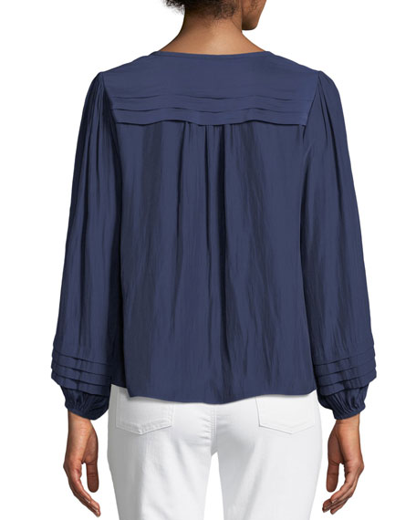 Ronnie Pleated Long-Sleeve Top
