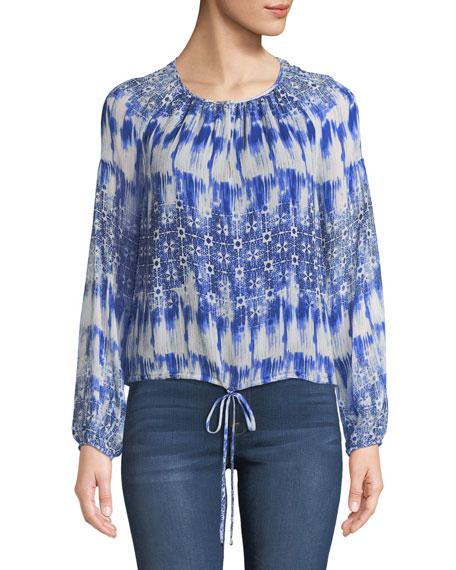 Macrame-Back Long-Sleeve Silk Top