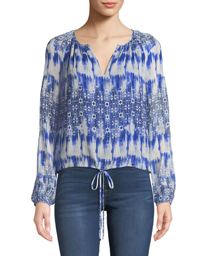 Macrame-Back Long-Sleeve Silk Top