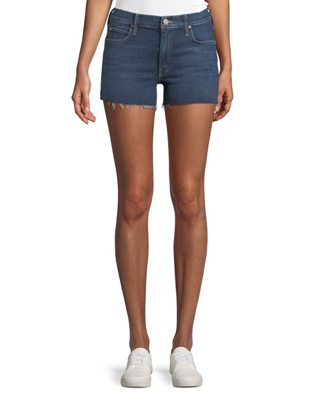 Mother Charmer Frayed Denim Shorts