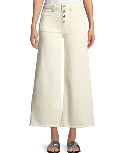 Carmine Button-Fly Wide-Leg Jeans with Raw-Edge Hem