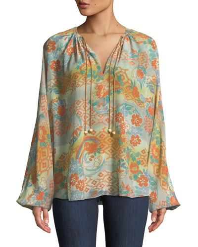 Chance Ruched-Neck Long-Sleeve Printed Silk Blouse