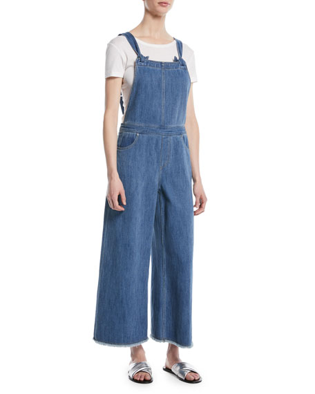 Jennette Square Neck Knot Strap Wide Leg Denim Jumpsuit by Elizabeth & James