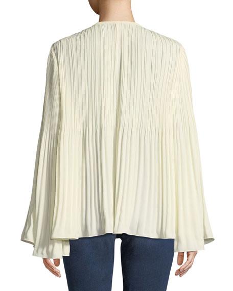 Jade Long-Sleeve Tie-Neck Pleated Top
