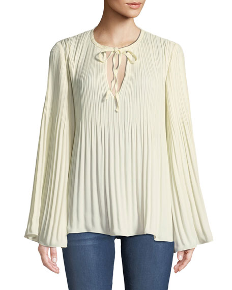Jade Long-Sleeve Tie-Neck Pleated Top