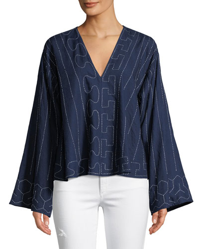Orchid Geometric Wide-Sleeve Top