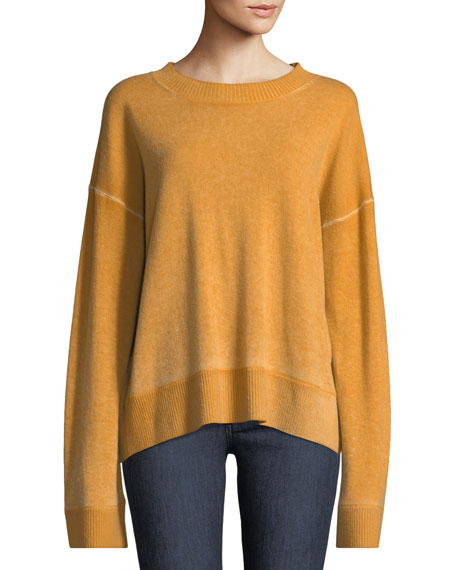 Oliver Crewneck Dropped-Shoulder Cashmere Pullover Sweater