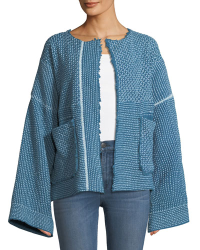 Hayden Wide-Sleeve Belted Hand-Quilted Jacket