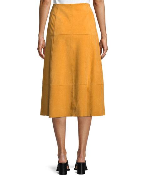Ryker A-Line Suede Midi Skirt w/ Topstitch Seams