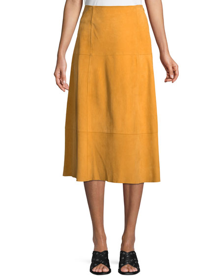 Elizabeth and James Ryker A-Line Suede Midi Skirt