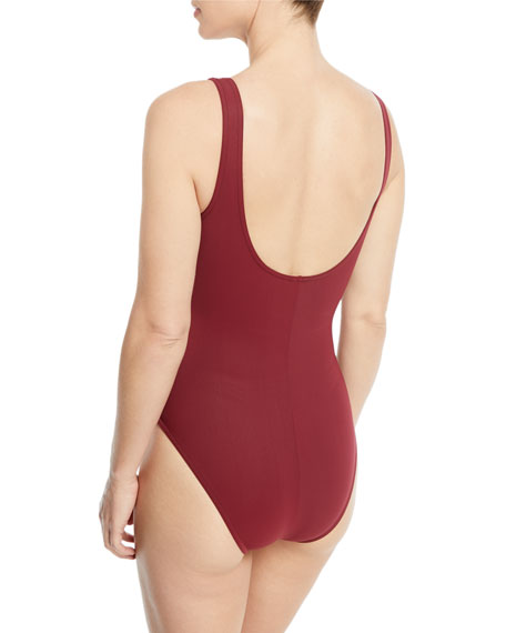 Amma Silent Underwire Ruched One-Piece Swimsuit w/ Pearl Button Details