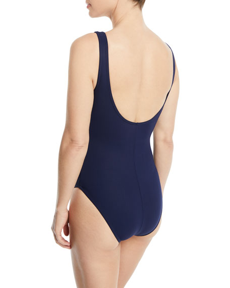 Amma Silent Underwire Ruched One-Piece Swimsuit with Pearl Buttons