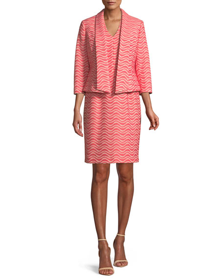 Two-Piece Wavy Jacquard Jacket & Dress Suit Set
