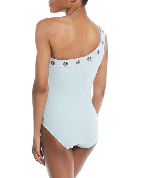 Viviana Grommet-Trim One-Shoulder Swimsuit with Shelf Bra