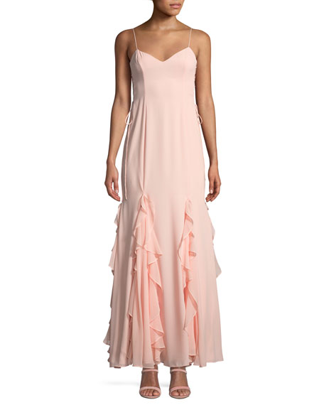 Fame and Partners The Lara Ruffle Spaghetti-Strap Gown
