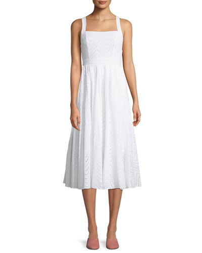 The Price Square-Neck Eyelet Cotton Midi Dress