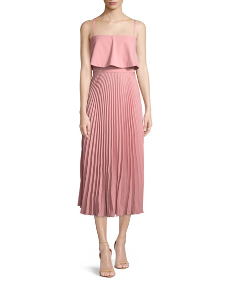 Jill Jill Stuart Nicole Popover Pleated Midi Cocktail