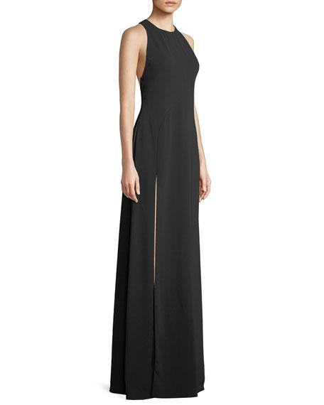 Wren Sleeveless Back-Cascade Gown