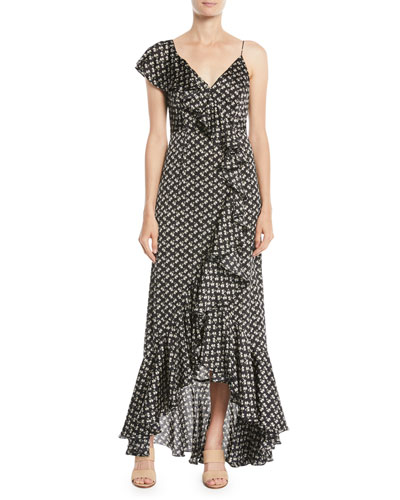 Mae Cascading Ruffle-Front Floral Gown