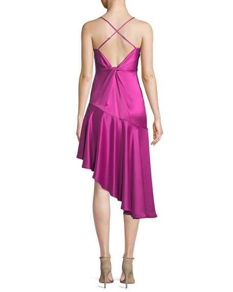 Madelyn Asymmetric Sheen Slip Dress
