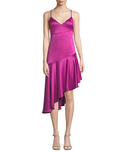 Madelyn Asymmetric Sheen Slip Dress