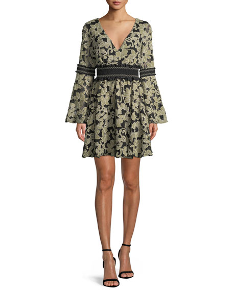 ZAC ZAC POSEN Mika Floral Mini Dress W/ Smocked Insets in Green