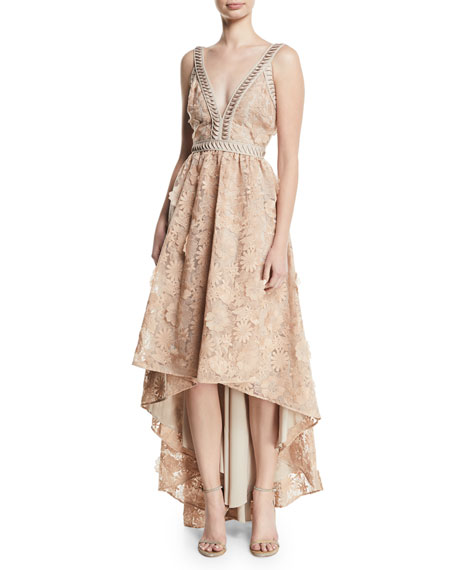 ZAC ZAC POSEN Bettina V-Neck High-Low Gown in Beige