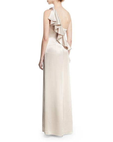 Anne Asymmetric-Neck Ruffled Gown