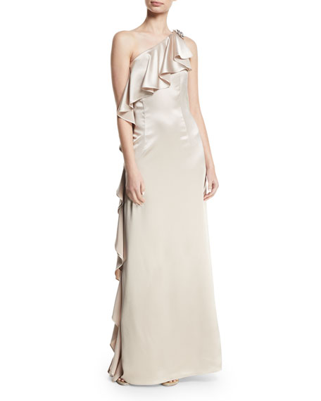 Anne Asymmetric-Neck Ruffled Gown